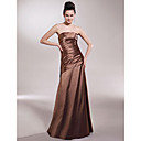 Floor-length Stretch Satin Bridesmaid Dress - Brown Plus Sizes / Petite A-line / Princess Strapless