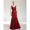 Military Ball/Formal Evening/Wedding Party Dress - Burgundy Plus Sizes Trumpet/Mermaid V-neck/Straps Floor-length Taffeta