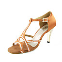 Non Customizable Women's Dance Shoes Latin/Ballroom Satin Stiletto Heel Black/Brown