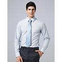 Custom Made Spread Collar Plain Fly Front Blue Plaid Shirt