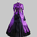 Langærmet Gulv-længde Purple Satin Cotton Classic Lolita Dress