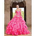 Ball Gown Sweetheart vloer-length organza jurk met ruches