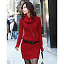 OULIU-Women's Turtle Neck Wool Blend Dress(excl.belt)