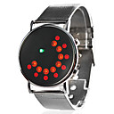 Unisex Dress Style Steel Digital LED rannekelloa (hopea)