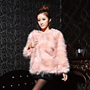 Beautiful Long Sleeve Collarless Ostrich Fur Casual/Party Jacket (More Colors)