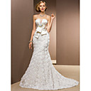 Lanting Trumpet/Mermaid Petite / Plus Sizes Wedding Dress - Ivory Chapel Train Strapless Chiffon / Satin / Tulle / Stretch Satin