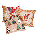 Set of 3 Merry Christmas Cotton/Linen Decorative Pillow Cover