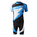 SPAKCT Men's Short Sleeve Cycling Jersey (Blue) Polyester+Spandex Breathable/Moisture Permeability