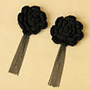 Women's Big Black Flower Earrings with Tassel