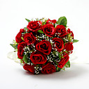 Red Satin / Cotton Rose Round Wedding Bridal Bouquet