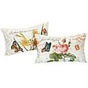 Conjunto de 2 Tampa País Floral Pillow algodão / linho decorativa