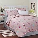 3-Piece Sophia Pink Cartoon Cotton Queen Quilt Set