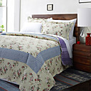 3-Piece Megan Beige Floral Cotton Queen Quilt Set