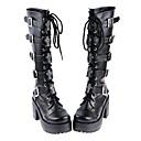 Handmade Black PU Leather 8cm Chunky Heel Gothic Lolita Boots