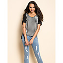 Women's Striped Black Short Sleeve