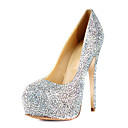 Gorgeous Leather Stiletto Heel Round Toe med farverige Rhinestone Pumper fest / aften sko