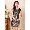 Women's Round Neck Embroidery Mini Dress , Polyester Vintage/Casual/Lace/Party/Work