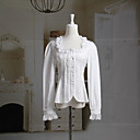 Long Sleeve Ruffle Trim Square Neckline White Cotton Sweet Lolita Blouse With Ruffle