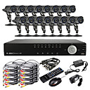 16CH D1 Real Time H.264 High Definition CCTV DVR Kit (16 Waterproof 600TVL Day Night CMOS Cameras)