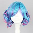 Do Aqua Fuschi Blended Curly Bob 35 centímetros Punk Lolita peruca