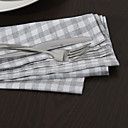 Set of 4 Solid Check Pattern Napkins