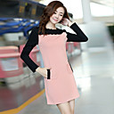 Women's Color Block Pink Dress , Casual/Work Round Neck Long Sleeve Pocket