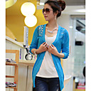 Women's Black/Blue/Green/Pink/Red/White/Yellow Cardigan , Casual/Cute/Work Long Sleeve