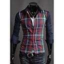 colorido camisa de costura de la tela escocesa de los hombres