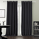 Two Panels Modern Solid Black Bedroom Polyester Panel Curtains Drapes