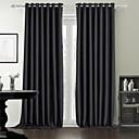 dois painéis modernos sólidos quarto preto cortinas de painel de poliéster cortinas