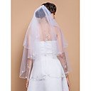 Two-tier Fingertip Wedding Veil With Beaded Edge And Sequins