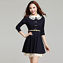 Women's Casual / Work / Cute Solid Skater Dress , Shirt Collar Above Knee Cotton Blends