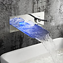 Bathroom Sink Faucet with Chrome Finish Color Changing LED Waterfall Wall Mount Faucet