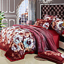 4-Piece Velvet Printed Red Duvet Cover Set