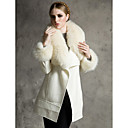Long Sleeve Shawl Faux Fur And Wool Party/Casual Coat