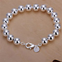 Fashion Brass Silver Plated With 10mm Hollow Beads Women's Bracelet