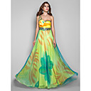 Formal Evening/Military Ball Dress - Print Plus Sizes A-line/Princess One Shoulder Floor-length Chiffon/Tulle