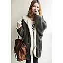 BLJY Kvinner Two Sides Iført hettegenser Fleece Bat stil tykkere Varm Big Coat