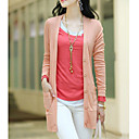 Women's Solid Color Knitwear Long Coatigan