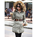 Women's Fur Collar Hoodie Coat With Belt