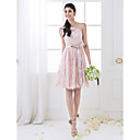 Knee-length Lace Bridesmaid Dress - Pearl Pink Plus Sizes / Petite A-line One Shoulder
