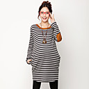 Maternity Stripes Elbow Patched Bluse