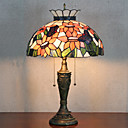 Crown Design bordlampe, 2 Light, Tiffany Resin Glass Painting