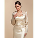 Long Sleeve Satin Evening/Casual Wrap/Evening Jacket With Beading (More Colors) Bolero Shrug