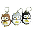 Owl Style 2-LED Blue Light Flashlight Keychain - Brown + White + Orange (Random Color)