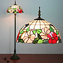 Floral Lampadaire Motif, 2 Light, Tiffany Resin Process Peinture sur verre