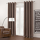 Two Panels Modern Solid Brown Living Room Polyester Blackout Curtains Drapes