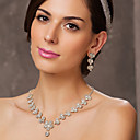 Rakouský drahokamu květiny svatební náhrdelník a náušnice sada