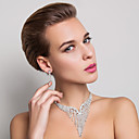 High Quality Czech Rhinestones Alloy Plated Wedding Bridal Jewelry Set,Including Necklace And Earrings