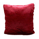 Fancy Modern Red Solid Plush Brocade Decorative Pillow Cover